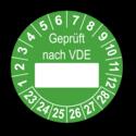 Geprüft nach VDE…, grün (zum Selbstbeschriften)