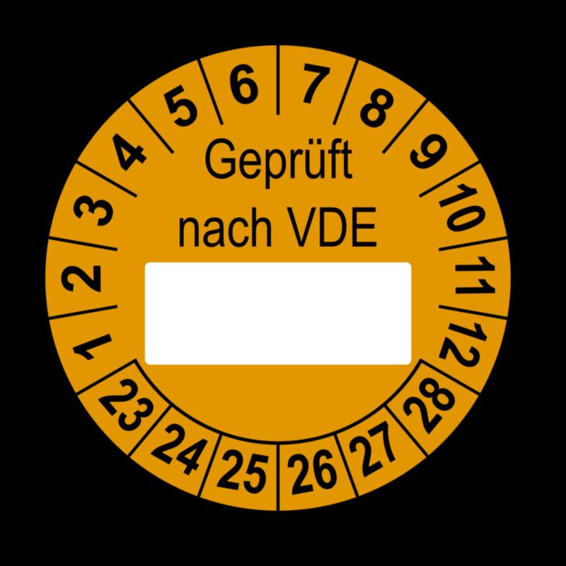 Geprüft nach VDE…, orange (zum Selbstbeschriften)