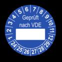 Geprüft nach VDE…, blau (zum Selbstbeschriften)