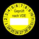Geprüft nach VDE…, gelb (zum Selbstbeschriften)
