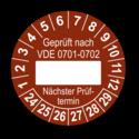Geprüft nach VDE 0701-0702 … Nächster Prüftermin, braun (zum Selbstbeschriften)