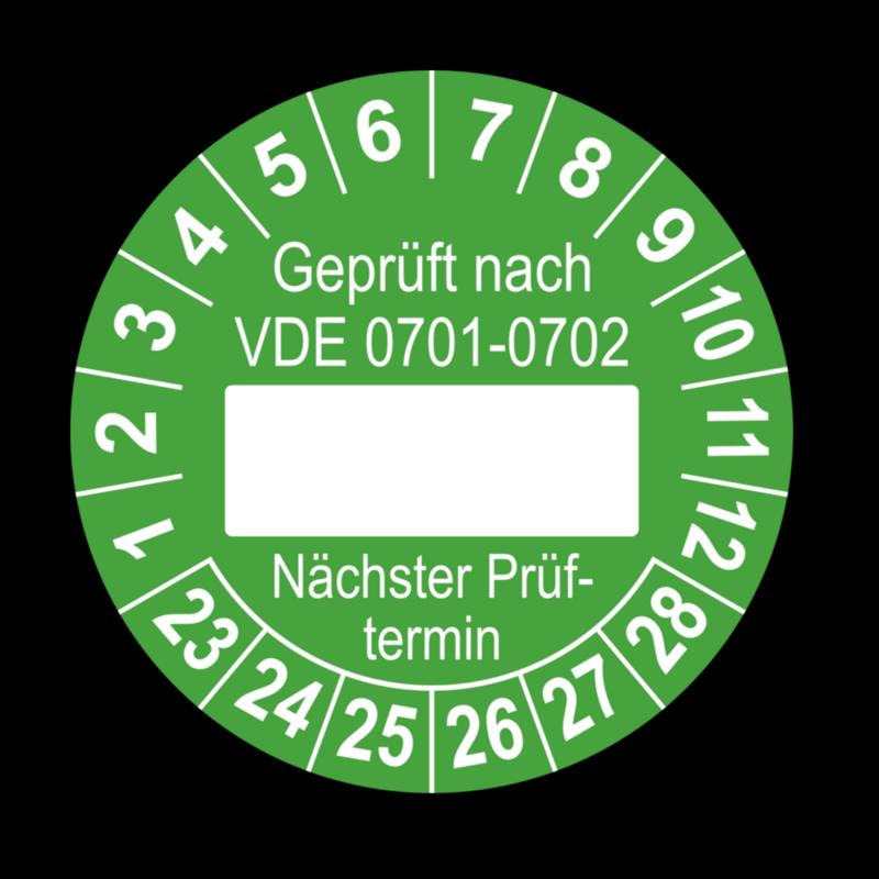 Geprüft nach VDE 0701-0702 … Nächster Prüftermin, grün (zum Selbstbeschriften)