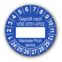 Geprüft nach VDE 0701-0702 … Nächster Prüftermin, blau (zum Selbstbeschriften)