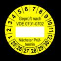 Geprüft nach VDE 0701-0702 … Nächster Prüftermin, gelb (zum Selbstbeschriften)