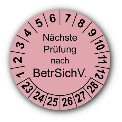 Nächste Prüfung nach BetrSichV., rosa