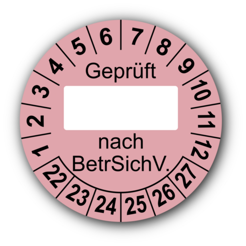 Geprüft … nach BetrSichV., rosa (zum Selbstbeschriften)