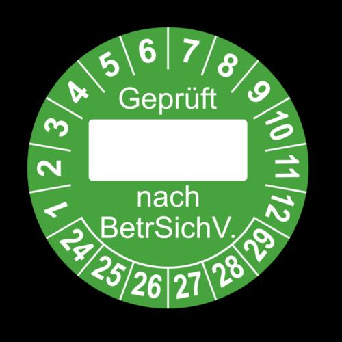 Geprüft … nach BetrSichV., grün (zum Selbstbeschriften)