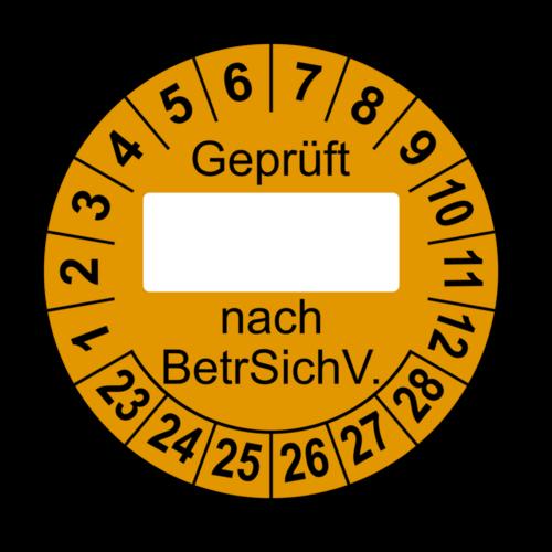 Geprüft … nach BetrSichV., orange (zum Selbstbeschriften)