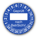 Geprüft … nach BetrSichV., blau (zum Selbstbeschriften)