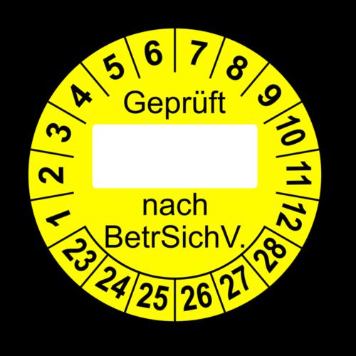 Geprüft … nach BetrSichV., gelb (zum Selbstbeschriften)