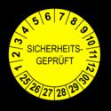 Sicherheitsgeprüft, gelb