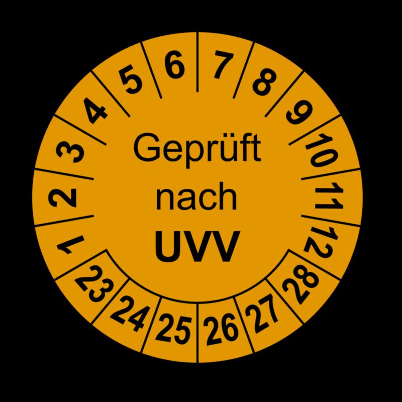 Geprüft nach UVV, orange