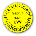Geprüft nach UVV, gelb