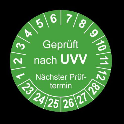 Geprüft nach UVV Nächster Prüftermin, grün