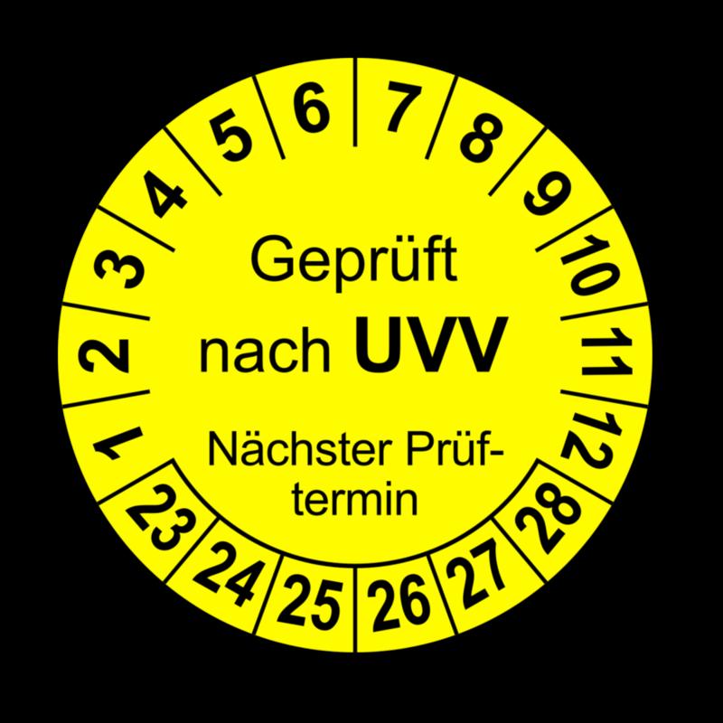 Geprüft nach UVV Nächster Prüftermin, gelb
