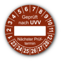 Geprüft nach UVV … Nächster Prüftermin, braun (zum Selbstbeschriften)