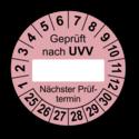 Geprüft nach UVV … Nächster Prüftermin, rosa (zum Selbstbeschriften)