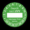 Geprüft nach UVV … Nächster Prüftermin, grün (zum Selbstbeschriften)
