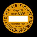 Geprüft nach UVV … Nächster Prüftermin, orange (zum Selbstbeschriften)