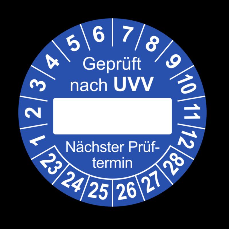Geprüft nach UVV … Nächster Prüftermin, blau (zum Selbstbeschriften)