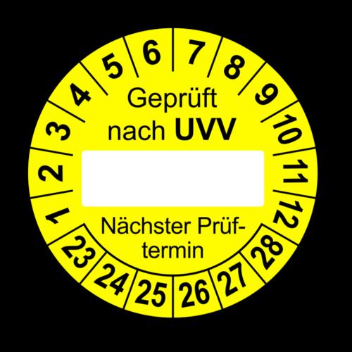 Geprüft nach UVV … Nächster Prüftermin, gelb (zum Selbstbeschriften)