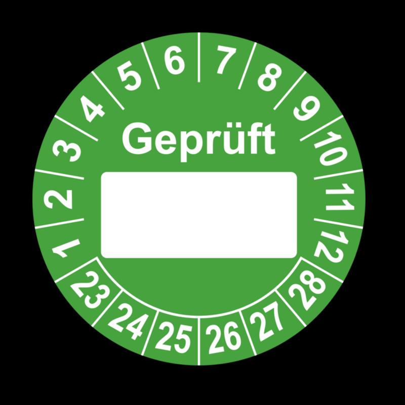 Geprüft …, grün (zum Selbstbeschriften)