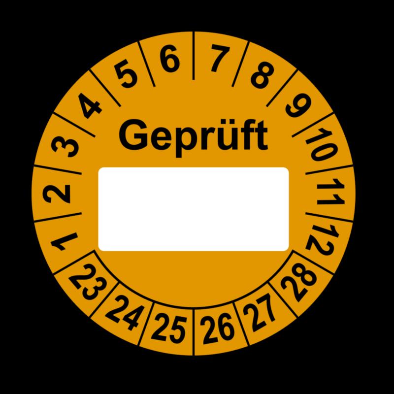 Geprüft …, orange (zum Selbstbeschriften)