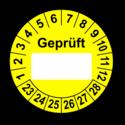 Geprüft …, gelb (zum Selbstbeschriften)