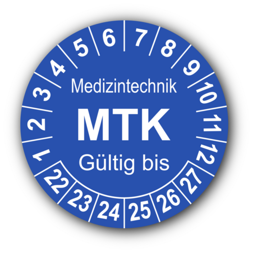 Medizintechnik MTK Gültig bis, blau