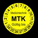 Medizintechnik MTK Gültig bis, gelb