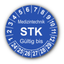Medizintechnik STK Gültig bis, blau