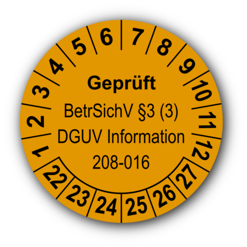 Geprüft BetrSichV §3 (3) DGUV Information 208-016, orange