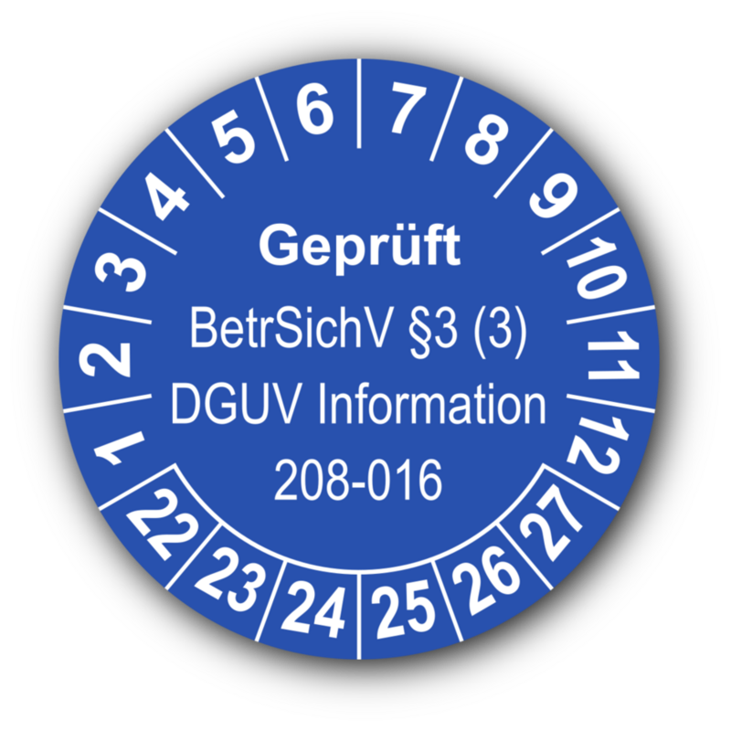 Geprüft BetrSichV §3 (3) DGUV Information 208-016, blau