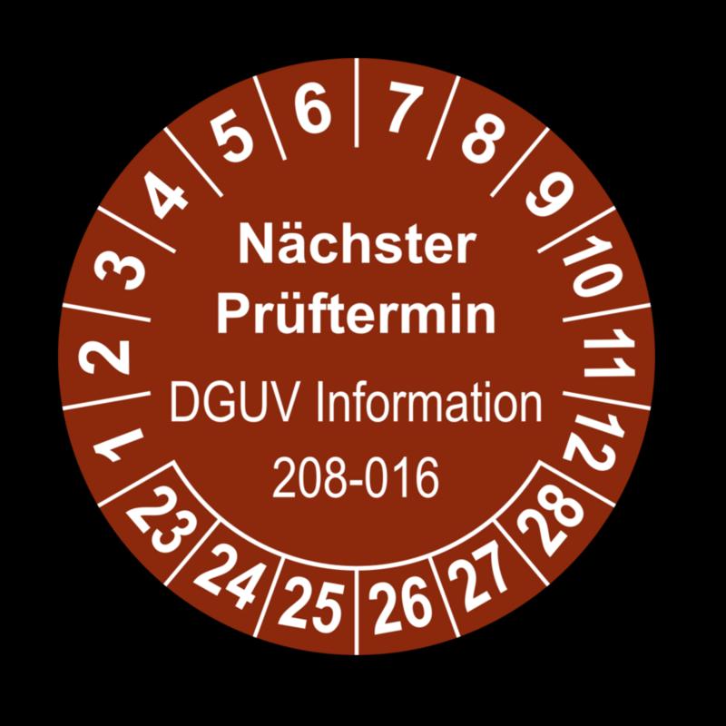 Nächster Prüftermin DGUV Information 208-016, braun