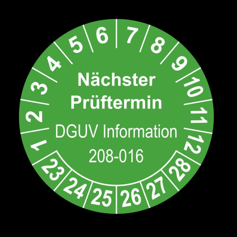 Nächster Prüftermin DGUV Information 208-016, grün