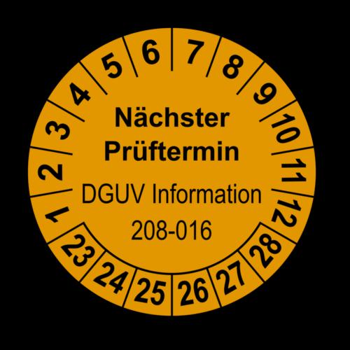 Nächster Prüftermin DGUV Information 208-016, orange