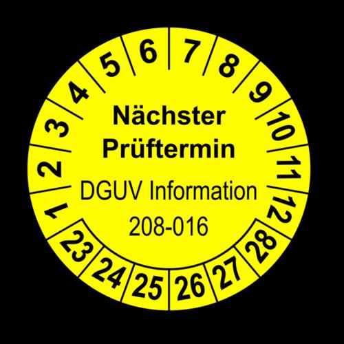 Nächster Prüftermin DGUV Information 208-016, gelb