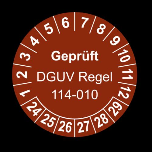 Geprüft DGUV Regel 114-010, braun