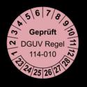 Geprüft DGUV Regel 114-010, rosa