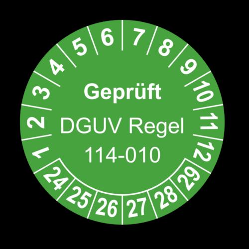 Geprüft DGUV Regel 114-010, grün