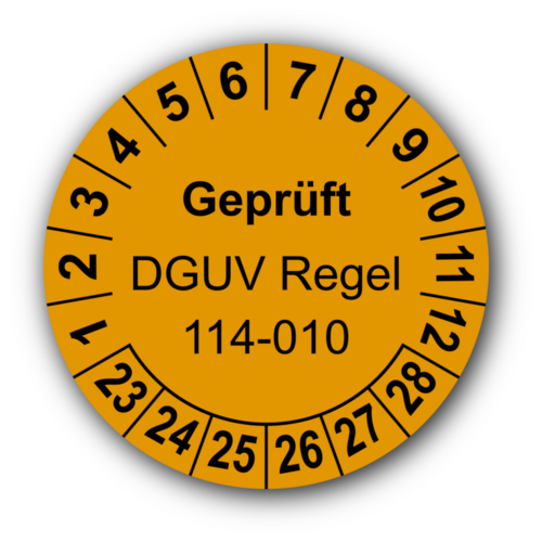 Geprüft DGUV Regel 114-010, orange