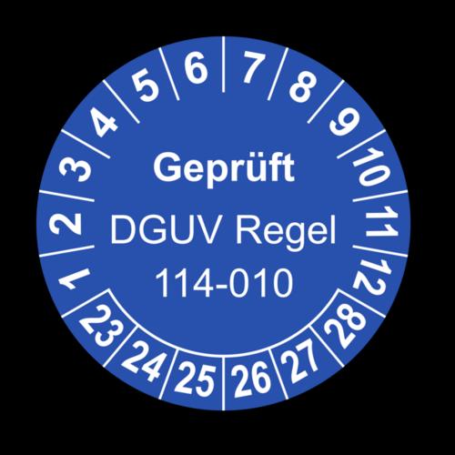 Geprüft DGUV Regel 114-010, blau