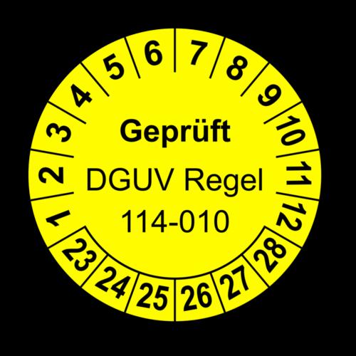 Geprüft DGUV Regel 114-010, gelb