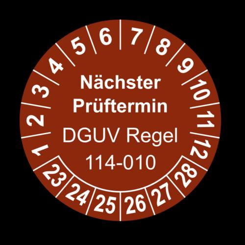 Nächster Prüftermin DGUV Regel 114-010, braun