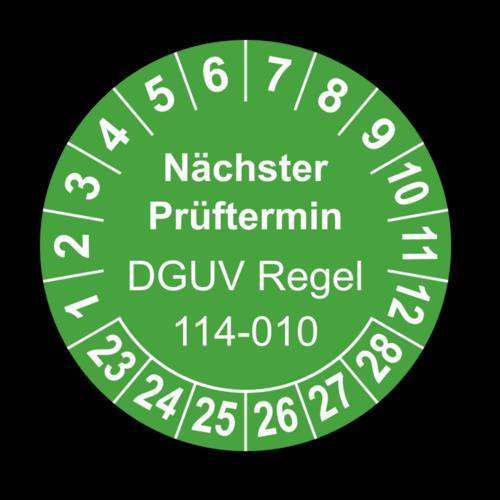 Nächster Prüftermin DGUV Regel 114-010, grün