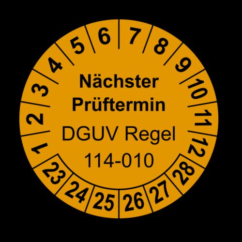 Nächster Prüftermin DGUV Regel 114-010, orange