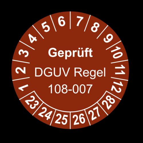 Geprüft DGUV Regel 108-007, braun