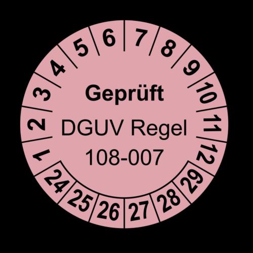 Geprüft DGUV Regel 108-007, rosa