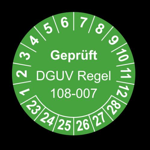 Geprüft DGUV Regel 108-007, grün