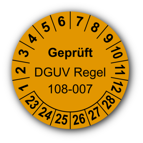 Geprüft DGUV Regel 108-007, orange